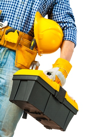 toolbox in hand of worker photo