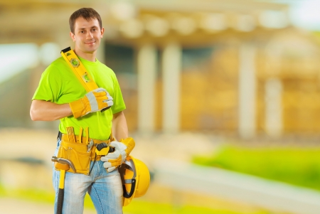 class maintenance: worker on building place