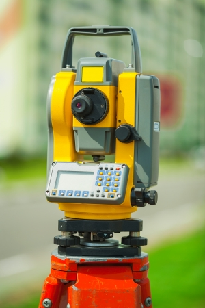 tacheometer: digital theodolite Stock Photo
