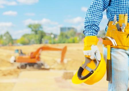 class maintenance: The builder on the construction place Stock Photo