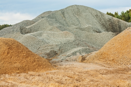 sand quarry: gravel and sand Stock Photo