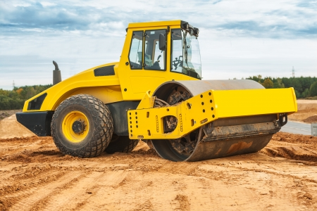 construction vibroroller: roll compactor Stock Photo