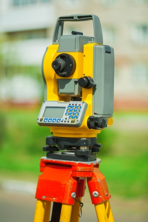 electronical: an used electronical theodolite close up