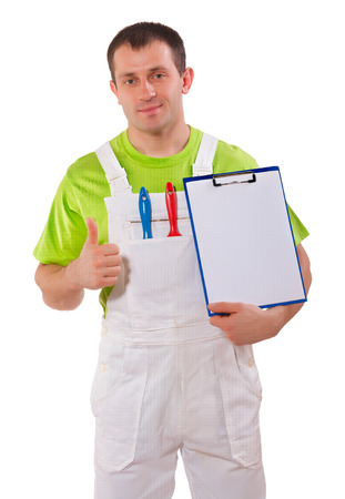 Painter holding a clipboard and thumb up photo