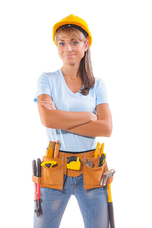 portrait of gorgeous female carpenter isolated on white photo