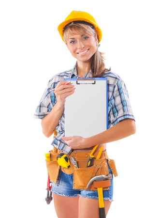 sexy female worker showing clipboard with blank sheet photo
