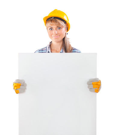 plackard: female worker holding white plackard isolated on white background