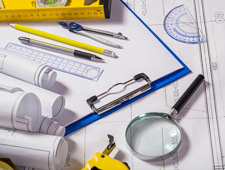 architect tools: architect tools on blueprint Stock Photo