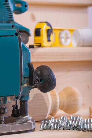 close up view on woodworking tools on wooden boards photo
