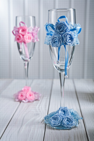 ornated: two ornated wineglasses