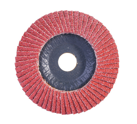 Red color abrasive flap disc isolated on white background photo