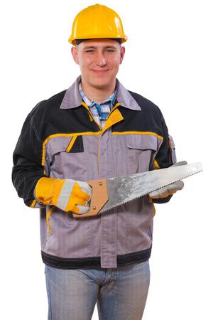 serrucho: carpintero holding serrucho