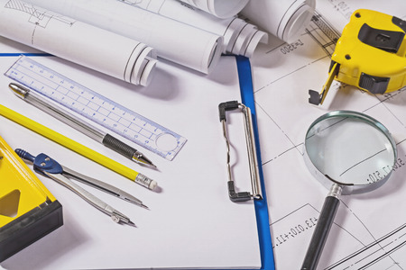architect tools: architect tools on blueprints