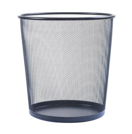 empty wastebasket on white background Stock Photo