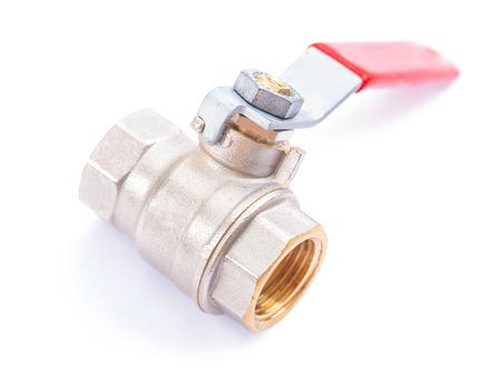 regulate: white plumbing fixture - water valve Stock Photo