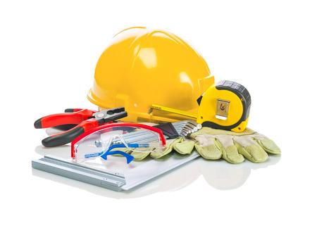 outils construction: outils de construction sur fond blanc Banque d'images