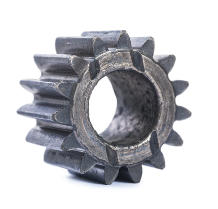 oiled: old oiled damaged machine gear isolated