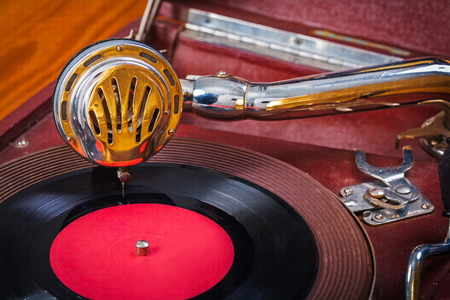 very close up view on gramophone photo