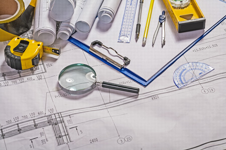 architect tools: some architect tools on blueprint Stock Photo