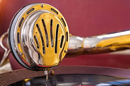 close up view on speaker of gramophone photo