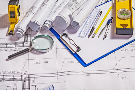 architect tools: set of architect tools on white blueprint