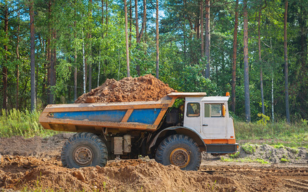 dumptruck: old tipper vith clay ground standing in forest Stock Photo