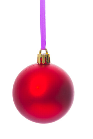 christmas toy: hanging single red christmas ball isolated on white background Stock Photo
