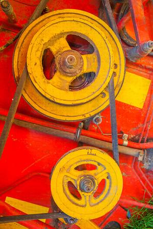 cosechadora: cierre vista sobre antigua mechanizm de cosechadoras