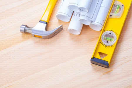 construction level: copyspace image white blueprints claw hammer construction level Stock Photo