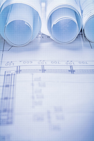 close up view: rolls of blueprints very close up view Stock Photo
