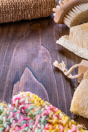 bathroom accessories on vintage wooden board