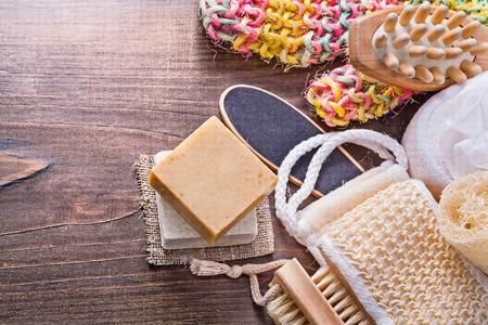 bar of soap: big set of bath room accessories bar soap wisp massager loofah n Stock Photo