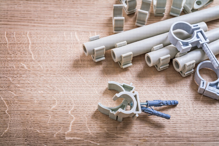 coupling: Polypropylene Fixators and clips Stock Photo