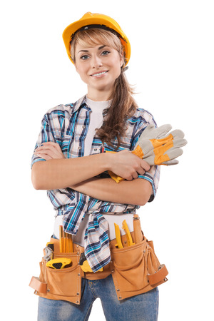 toolbelt: beautiful female construction worker Stock Photo