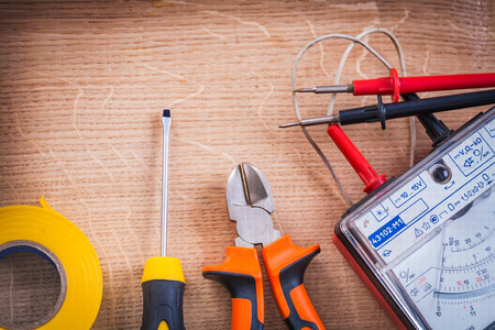 electrical tools multimeter tester nippers and screwdriver Foto de archivo
