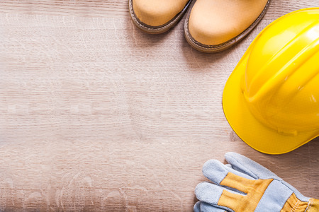 construction industry: organized working boots, helmet and glove