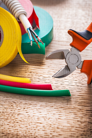 shrinking: vertical view nippers electric cable rolls of isulating tape hea