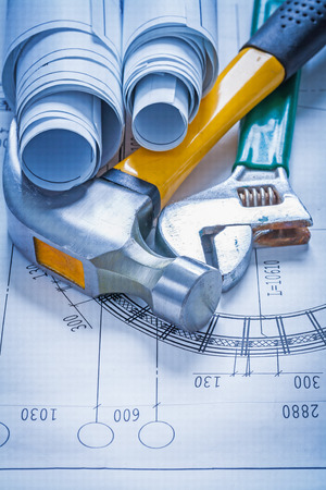 claw hammer: Blueprint rolls adjustable spanner and claw hammer construction