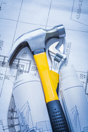 claw hammer: Claw hammer roll of construction plans adjustable spanner buildi