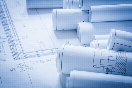 construction industry: Close up of architecture construction plans building concept
