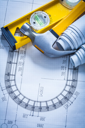 ar: Construction level claw hammer set of blueprints building and ar