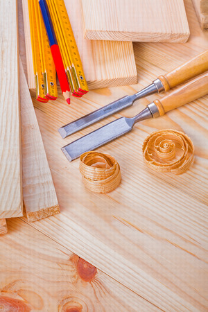 joinery: joinery composition chisels wooden meter pencil on boards