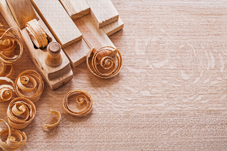 joinery: joinery composition old fashioned woodworkers plane and planks s Stock Photo