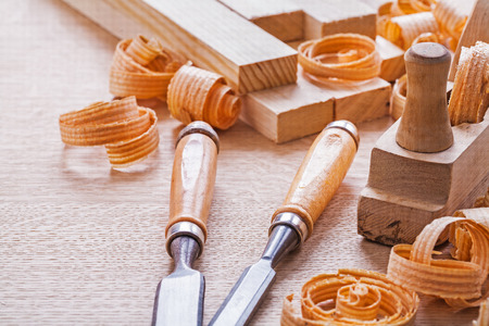 chisels: joinery tools chisels and plane Stock Photo