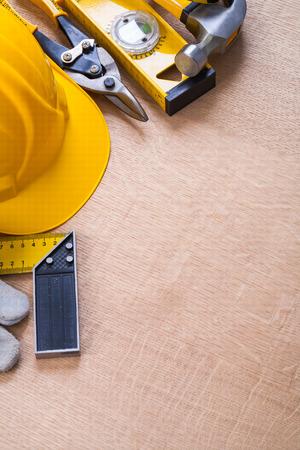 oaken: Oaken wooden board with composition of construction objects repa