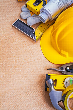 oaken: Oaken wooden board with collection of construction objects repai Stock Photo