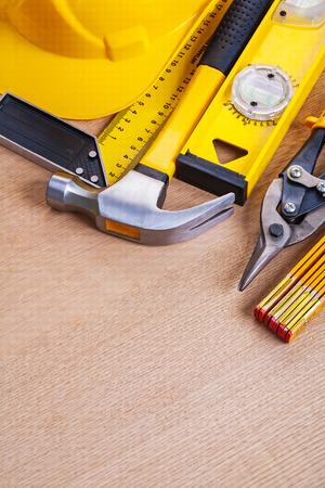 oaken: Oaken wooden board with set of building working tools repairing