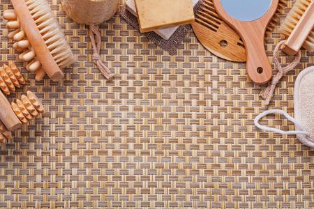 nail brush: organized copyspace set of bathroom tools massagers nail brush s