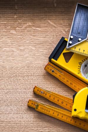 oaken: Set objects of measurement on oaken wooden board maintenance con