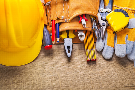 toolbelt: set of construction tools in toolbelt Stock Photo